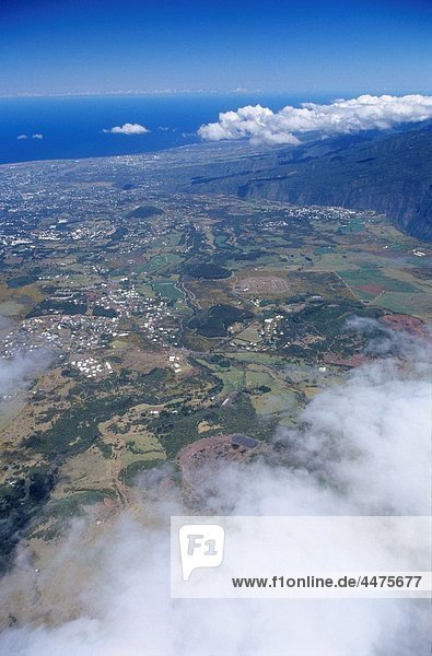 Aerial view of Cafres plain and Le Tampon back  Reunion Island France  Indian Ocean