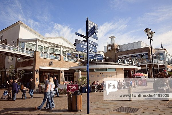Cardiff Bay Bae Caerdydd  Glamorgan  South Wales  UK  Europe Mermaid Quay cafes and shops on the waterfront