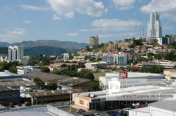 Honduras. Central District. Tegucigalpa. Overview of the Multimall and the neighborhood of Lomas del Mayab.