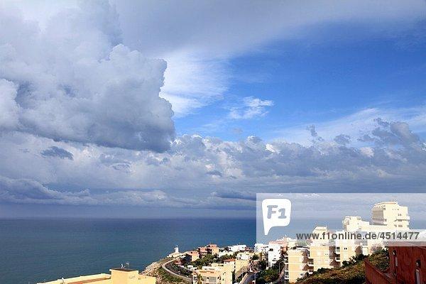 Storm over the Mediterranean sea Cullera beach Valencia province Spain