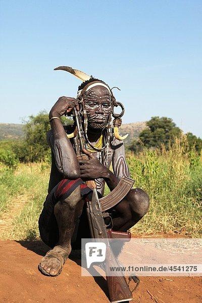 Africa Ethiopia Omo Valley Mursi people.