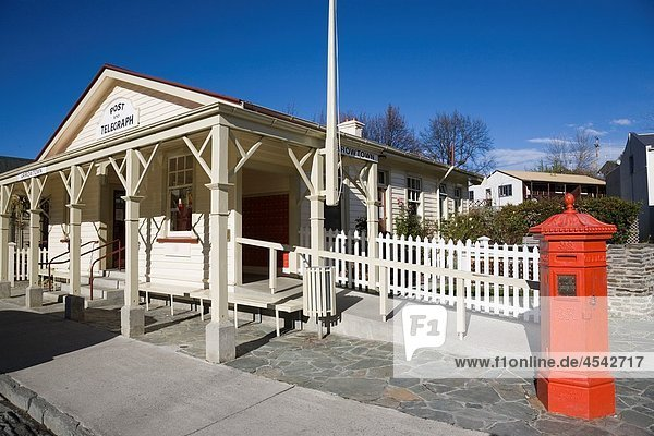 Arrowtown Otago South Island New Zealand Post Office and telegraph wooden building with letterbox in old gold mining town
