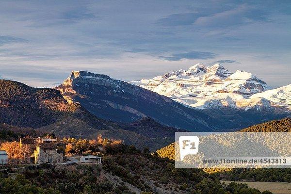 Sunset at Las Tres Sorores peaks -Añisclo  Monte Perdido and Marboré-   National Park of Ordesa and Monte Perdido  Huesca  Spain