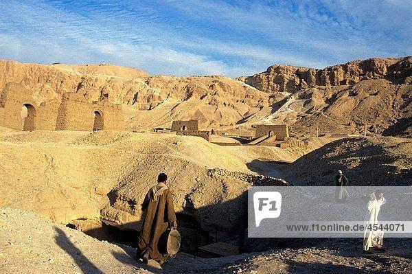 archaeological excavation at Deir el-Bahari site,  Thebes,  Egypt,  Africa, archaeological excavation at Deir el-Bahari site,  Thebes,  Egypt,  Africa