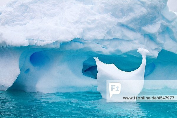 Iceberg detail in and around the Antarctic Peninsula during the summer months  Southern Ocean MORE INFO An increasing number of icebergs is being created as climate change is causing the breakup of major ice shelves and glaciers