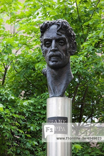 Lithuania  Vilnius  bust to US rock singer Frank Zappa