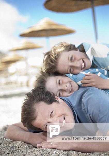 Haufen  Strand  Menschlicher Vater  Sohn  2