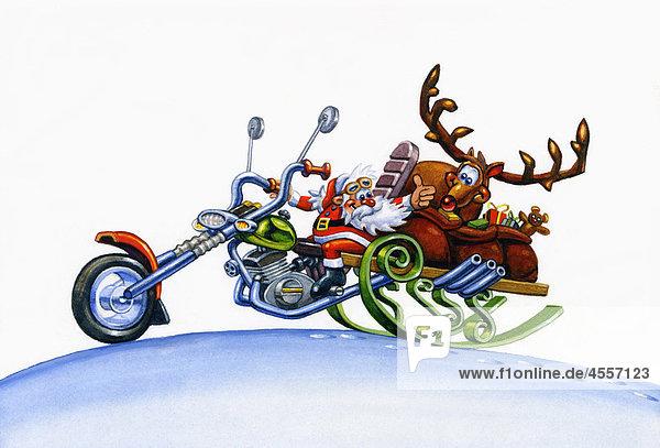 Illustration vom Weihnachtsmann auf einem Motorrad