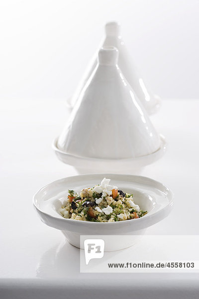 Grüne Taboulé mit Feta  / Mit Englischsprachigem Rezept