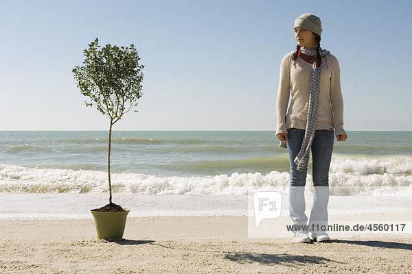 Preteen Mädchen am Strand stehend in der Nähe von Topfbaum gesetzt am Rand des Wassers