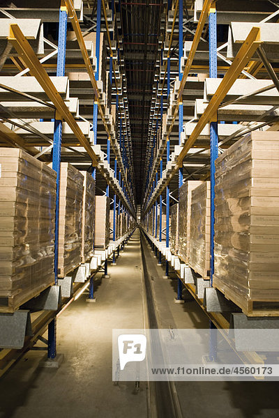 Automated Storage and Retrieval System  AS/RS  operating in the dark to conserve energy in warehouse