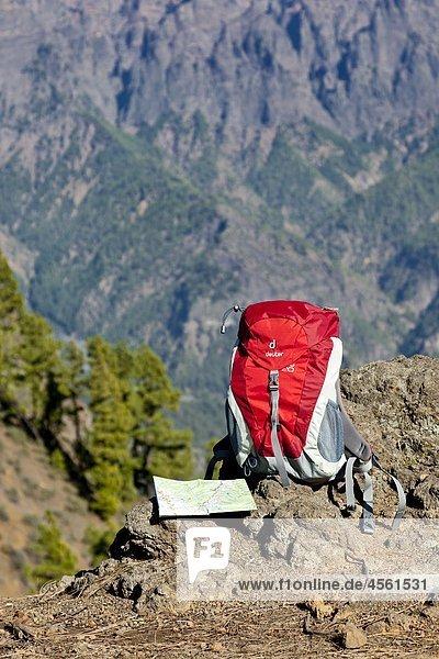 Wanderrucksack  Caldera de Taburiente  La Palma  Kanarische Inseln  Spanien