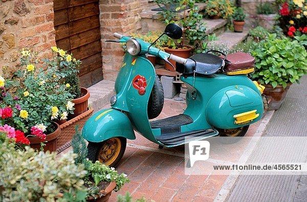 Vespa scooter  Pienza  Tuscany  Italy
