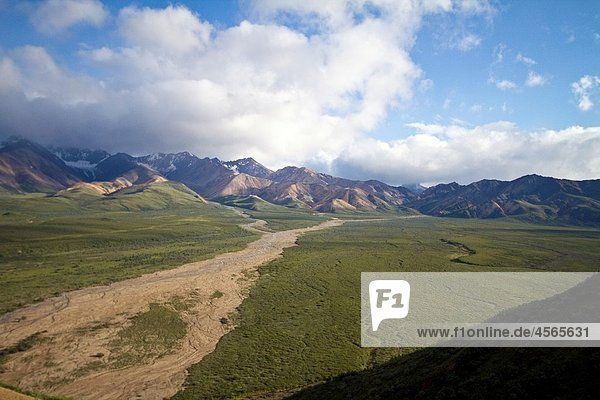 A view of the Polychrome many-colored Mountains from a lookout point on the park road inside Denali National Park and Preserve   Alaska  USA