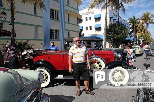 Old car at the Festival in Ocean Dr  Miami Beach  Florida  USA