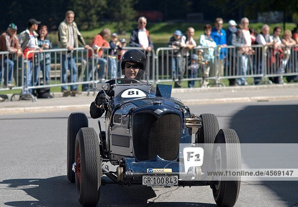 Vintage Riley vintage car racing during the Arosa Mountain Rally in Switzerland