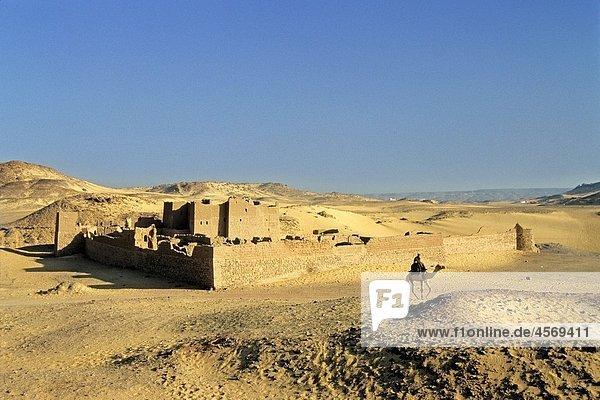 abandoned fortress Christian monastery of St Simeon  Aswan  Egypt  Africa