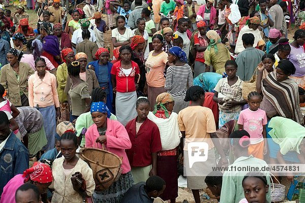 Many people on a colorful market  Ethiopia  East Africa.