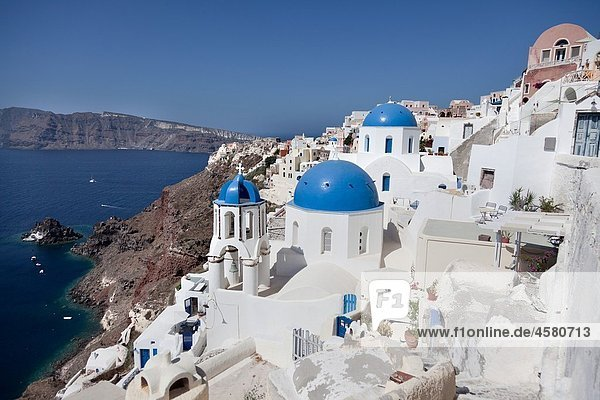 Buildings at the waterfront  Oia  Santorini  Cyclades Islands  Greece