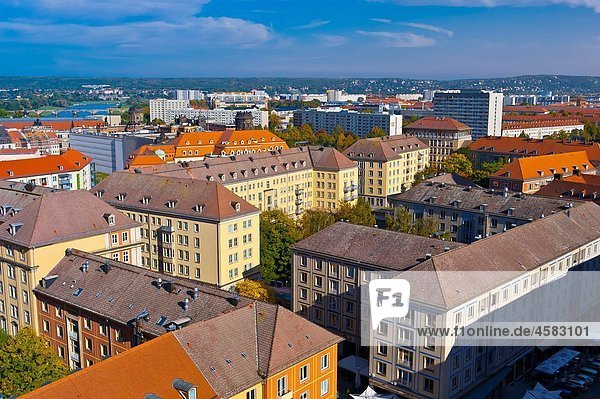 Overview of buildings  Dresden  Saxony  Germany