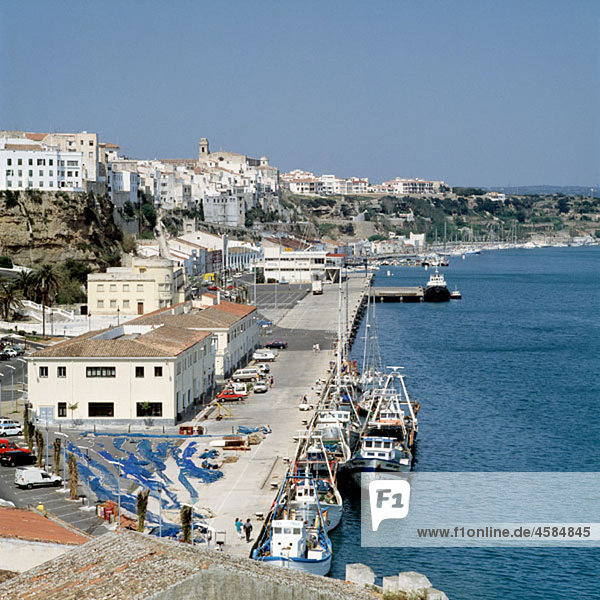 Spain  Minorca  Balearic Islands  Mahon  view to the old city  port  fishing boats