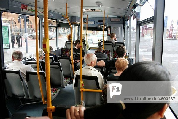 Passengers sitting in bus  public transport  Auckland  North Island  New Zealand
