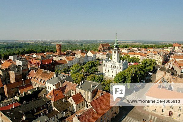 Chelmno an old town in the Pomerania region. The market place and the Town Hall