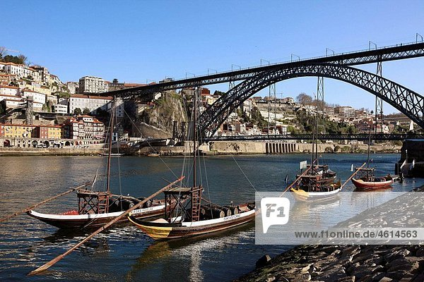 ¥Rabelos¥ Port wine carring barges  Douro river and Dom Luis I Bridge  Porto  Portugal