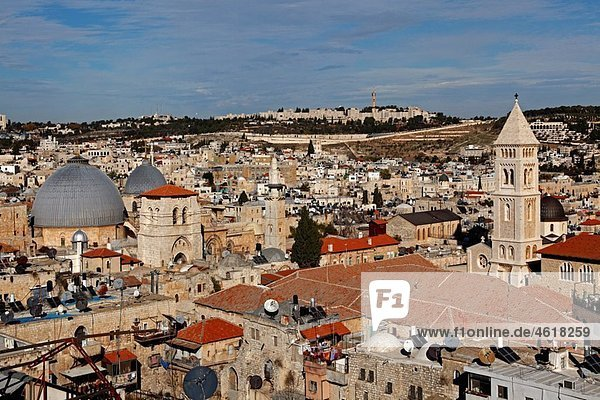 Israel Jerusalem Old city from David¥s Tower Church of the Holy Sepulchre Church of the Redeemer