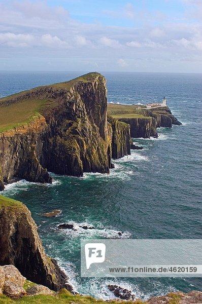 Neist Point Lighthouse  Isle of Skye  Western Highlands  Scotland  UK
