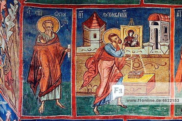 Romania Moldavia Region Southern Bucovina Humor Monastery interior Frescos wall paintings biblical scenes