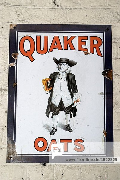 Old Quaker Oats advertisement on tin plaque  London  England Old Quaker Oats advertisement on tin plaque, London, England
