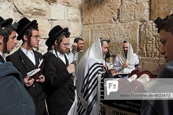Israel Jerusalem Western wall of the Temple Mt  Bar Mitzvah celebration reading from the Torah
