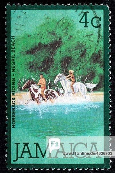 Horseback riding  Negril Beach  postage stamp  Jamaica