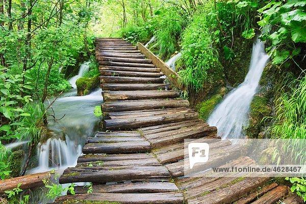 Europa  Kroatien  Jezera  Blick auf den Nationalpark Plitvicer Seen