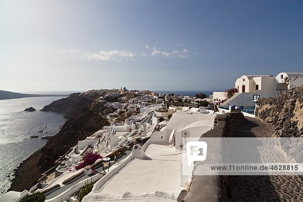 Greece  Cyclades  Thira  Santorini  Oia  View of village with aegean sea