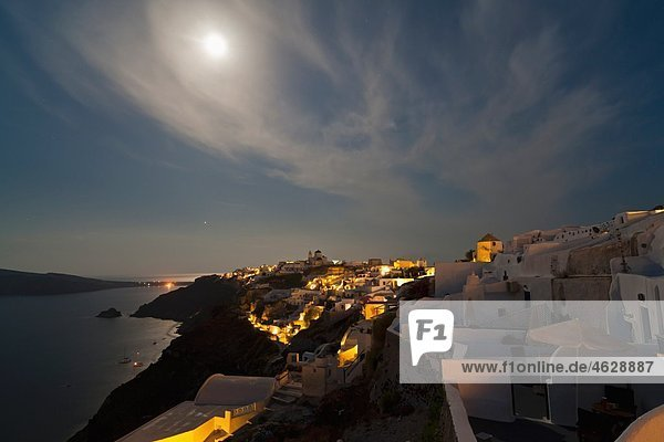 Europe  Greece  Thira  Cyclades  Santorini  View of oia at full moon
