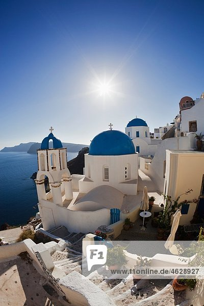 Europe  Greece  Aegean Sea  Cyclades  Thira  Santorini  Oia  View of blue dome and church