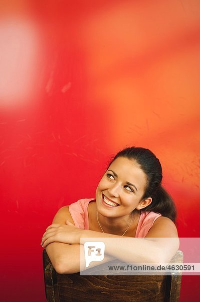 Young woman in cafe  smiling