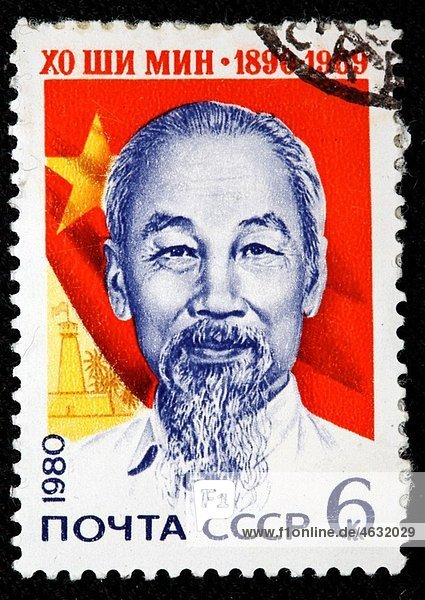 Ho Chi Minh 1890-1969  Communist  Marxist-Leninist Vietnamese revolutionary and statesman  prime minister and president of the Democratic Republic of Vietnam  postage stamp  USSR  1980
