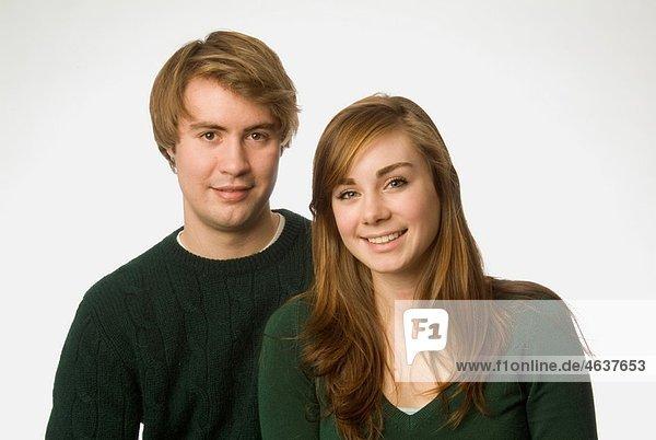 young couple in studio portrait