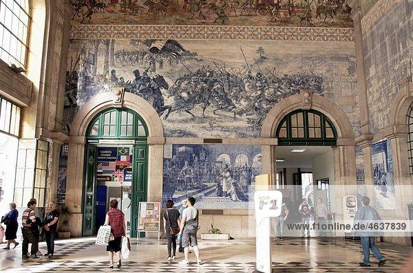 Sao Bento railway station azulejos earthenware tiles Porto Portugal Sao Bento railway station azulejos earthenware tiles Porto Portugal