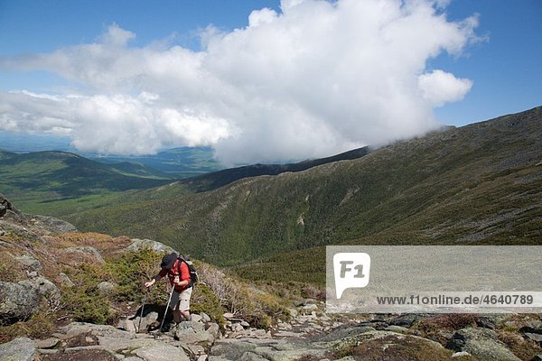 A hiker ascending Ammonoosuc Ravine Trail during the summer months Located in the White Mountains  New Hampshire USA