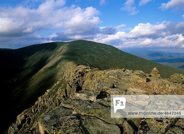 Scenic views of Mount Bond from Bondcliff Located on the Bondcliff trail in the Pemigewasset Wilderness  which is in the White Mountain National Forest of New Hampshire  USA
