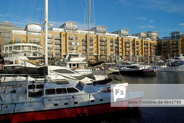 Yachts at St Katharine Docks marina  Tower Hill  London  England