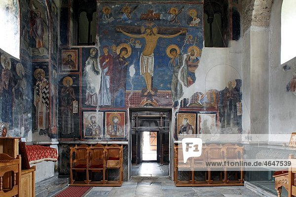 Serbia Studenica Monastery founded by Grand Prince Stefan Nemanja Church of the Virgin late 12th century Orthodox christian religious colour interior indoor frescos wall paintings