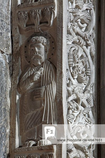 Serbia Studenica Monastery founded by Grand Prince Stefan Nemanja late 12th century Church of the Virgin Western portal Orthodox christian religious colour interior indoor sculptures bas relief