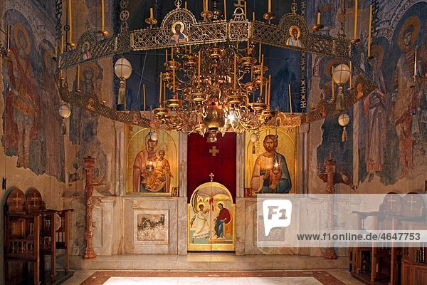 Serbia Zica Monastery early 12th century first Serbian autonomous Archbishopric from 1218 Orthodox christian religious colour interior indoor frescos wall paintings iconostasis