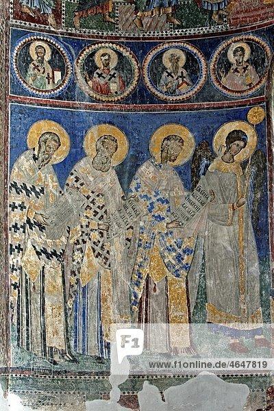 Serbia Manasija Monastery founded by Despot Stefan Lazarevi 1407-1418 Church of St Trinity Orthodox christian religious colour interior indoor frescos wall paintings