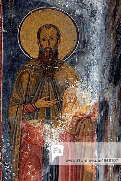 Serbia Studenica Monastery founded by Grand Prince Stefan Nemanja late 12th century Church of the Virgin Orthodox christian religious colour interior indoor frescos wall paintings